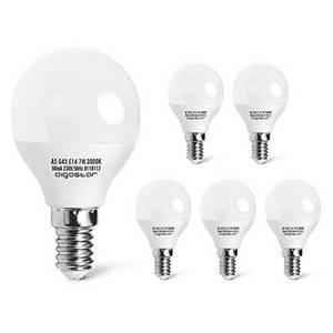 LED Lampe Birnen E14, 7W, warmes Licht 3000K, 470 Lumen, Abstrahlwinkel 230 Grad, 5er Pack, Kugel, Energiespar